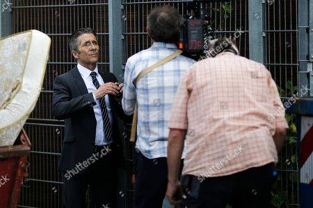 """On, actor Leland Orser, left, appears on the set of Epix's """"Berlin Station"""" TV series in Berlin"""