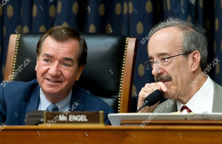 Ed Royce, Eliot Engel. House Foreign Affairs Committee Chairman Rep. Ed Royce, R-Calif., left, speaks with the committee's ranking member Rep. Eliot Engel, D-N.Y. during a hearing on Iran before the House Foreign Affairs Committee, on Capitol Hill in Washington