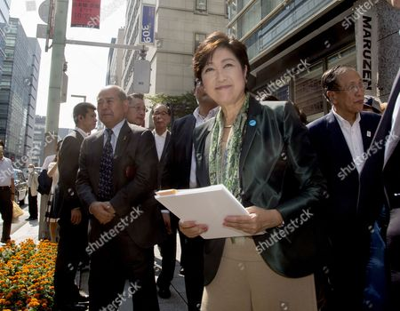 Tokyo Govrrnor and leader of Party of Hope, Yuriko Koike campaigning with Taro Hatoyama (Party of Hope) in Nihombashi, Tokyo.