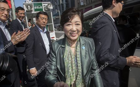Stock Picture of Tokyo Govrrnor and leader of Party of Hope, Yuriko Koike campaigning with Taro Hatoyama (Party of Hope) in Nihombashi, Tokyo.