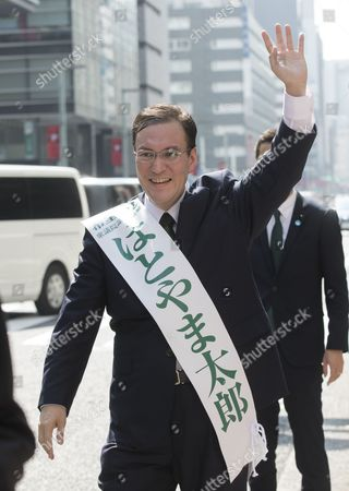 Stock Image of Taro Hatoyama (Party of Hope) campaigning in Nihombashi, Tokyo.