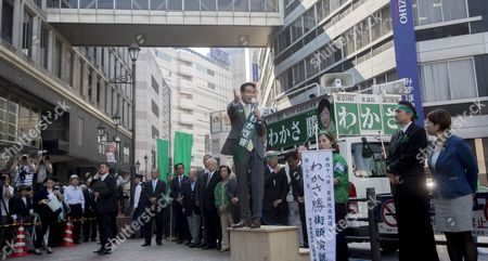 Tokyo Govrrnor and leader of Party of Hope, Yuriko Koike campaigning with Masaru Wakasa (Party of Hope) in Ikebukuro, Tokyo.