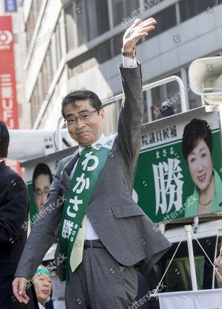 Masaru Wakasa (Party of Hope) in Ikebukuro, Tokyo.