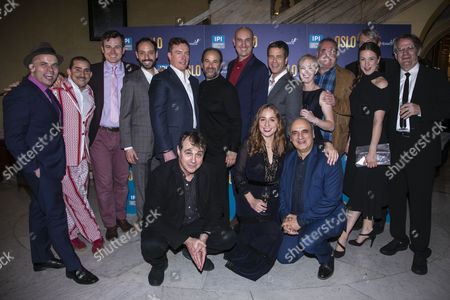 Cast and creative including JT Rogers (Author), Toby Stephens (Terje Rod-Larsen), Lydia Leonard (Mona Juul) and Bartlett Sher (Director)