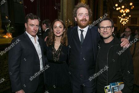 Toby Stephens (Terje Rod-Larsen), Lydia Leonard (Mona Juul), Adam Speers (Producer) and Christian Slater