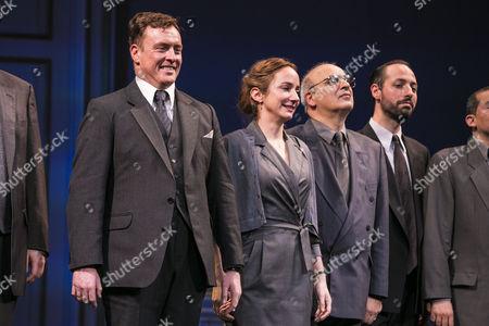 Toby Stephens (Terje Rod-Larsen), Lydia Leonard (Mona Juul), Peter Polycarpou (Ahmed Qurei) and Philip Arditti (Uri Savir) during the curtain call