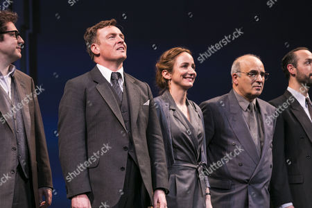 Toby Stephens (Terje Rod-Larsen), Lydia Leonard (Mona Juul) and Peter Polycarpou (Ahmed Qurei) during the curtain call
