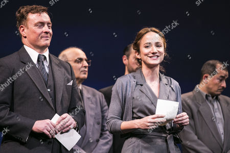 Toby Stephens (Terje Rod-Larsen) and Lydia Leonard (Mona Juul) during the curtain call