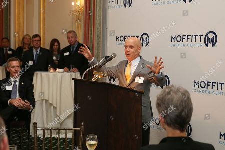 Scott Hamilton speaks at the Moffitt Cancer Center New York Leadership Series at the Metropolitan Club, in New York