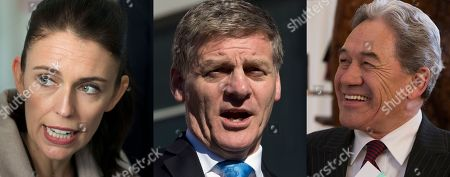 Winston Peters, Jacinda Ardern, Bill English. This combination of photos, shows from left, New Zealand Labour Party leader Jacinda Ardern, left, in Christchurch,, New Zealand Prime Minister Bill English, in Christchurch on Aug. 24, 2017, and New Zealand First leader Winston Peters in Christchurch, Aug. 16, 2017, speaking at events during the election campaign. The main conservative and liberal parties are competing to form a government after an election last month ended with an inconclusive result. Crucial to the negotiations is the small New Zealand First party, led by maverick lawmaker Winston Peters