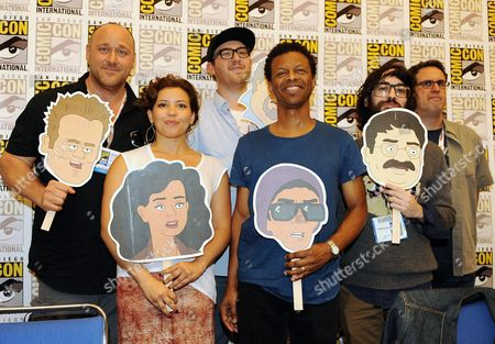 """From left, Will Sasso, Justina Machado, Peter Atencio, Phil Lamarr, creator Jason Ruiz, and creator David A. Goodman attend the FOX """"Murder Police"""" booth signing on Day 2 of Comic-Con International on in San Diego, Calif"""