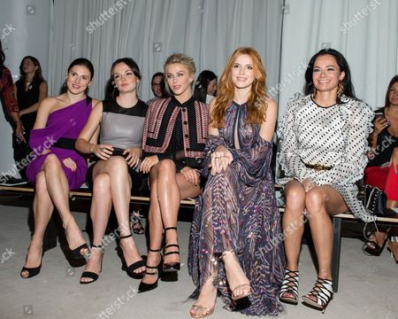 Tiler Peck, from left, Emily Meade, Julianne Hough, Bella Thorne and Lisa Airan attend the J Mendel Fashion Show, in New York