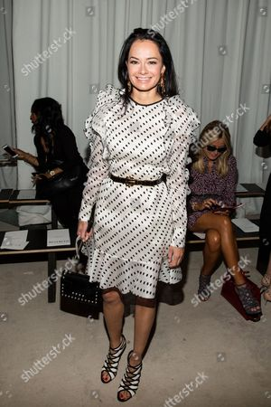 Stock Image of Lisa Airan attends the J Mendel Fashion Show, in New York
