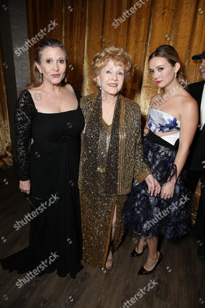Carrie Fisher, Debbie Reynolds and Billie Catherine Lourd seen at 21st Annual SAG Awards Ceremony at the Shrine Auditorium, in Los Angeles, CA