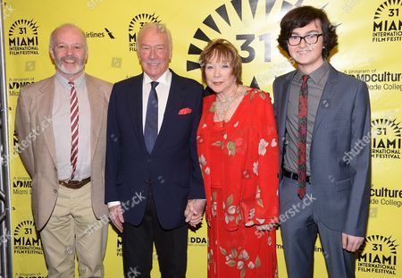 """Director Michael Radford, left, poses with actors Shirley Maclaine, Christopher Plummer and Jared Gilman, right, at the world premiere of """"Elsa & Fred"""" for the opening night of the Miami International Film Festival, in Miami"""