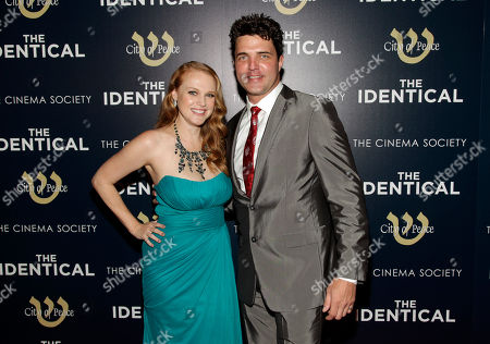 "Actress Erin Cottrell, left, and actor Blake Rayne, right, attend the premiere of ""The Identical"" on in New York"