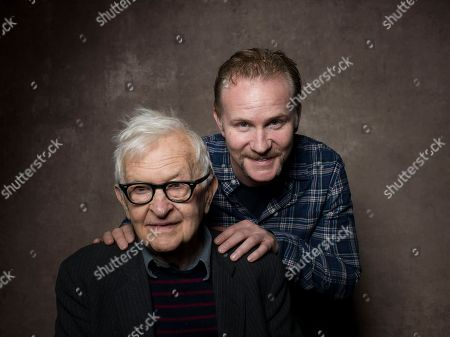 "From left, directors Albert Maysles and Morgan Spurlock from the film ""Focus Forward"" pose for a portrait during the 2013 Sundance Film Festival at the Fender Music Lodge on in Park City, Utah"