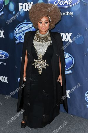 """La' Porsha Renae attends the red carpet arrivals and Debut of the """"American Idol XV"""" Finalists in West Hollywood, Calif. Three contestants are left to vie for the last American Idol"""" crown. Trent Harmon, of Amory, Mississippi; Dalton Rapattoni of Dallas, and Renae of McComb, Mississippi, were announced, as the contenders"""