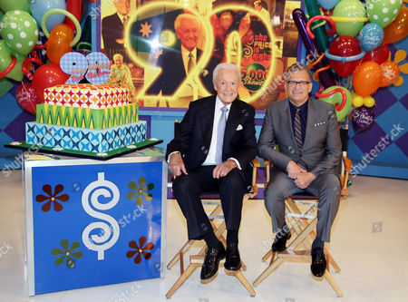 "Bob Barker, left, and Drew Carey pose for a photo on the set of ""The Price is Right"" after a special appearance that will celebrate Barker's 90th birthday at CBS Studios,, in Los Angeles"
