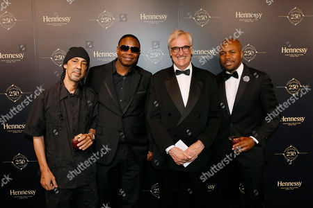 Pictured left to right, contemporary artist Futura, Rapper Doug E Fresh, 8th generation Hennessy family member and international brand ambassador, Maurice Hennessy and photographer and DJ D-Nice attend Hennessy 250 Tour and Gala Dinner at Lincoln Center in New York, NY, . To celebrate the brand's 250th anniversary, the Hennessy 250 Tour will be open to the public July 8-10 and features internationally-recognized artists whose works evoke the brand's legacy and expertise