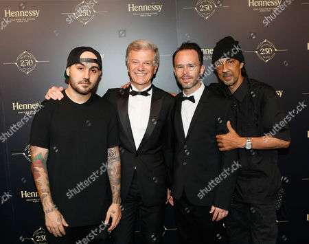 Pictured left to right, photographer 13thWitness, Hennessy Chairman & CEO Bernard Peillon, contemporary artists Daniel Arsham and Futura, attend Hennessy 250 Tour and Gala Dinner at Lincoln Center in New York, NY, . To celebrate the brand's 250th anniversary, the Hennessy 250 Tour will be open to the public July 8-10 and features internationally-recognized artists whose works evoke the brand's legacy and expertise