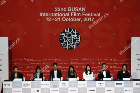 (L-R) Busan International Film Festival (BIFF) director Kang Soo-Youn, director Shin Su-Won, actor Kim Tae-Hoon, actress Moon Geun-Young, actress Park Ji-Su, actor Suh Tae-Hwa and actor Lim Jeong-Woon,