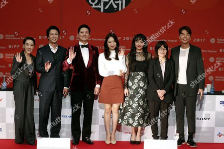 (L-R) Busan International Film Festival (BIFF) festival director Kang Soo-Youn, actor Lim Jeong-Woon, actor Suh Tae-Hwa, actress Park Ji-Su, actress Moon Geun-Young, director Shin Su-Won and actor Kim Tae-Hoon 