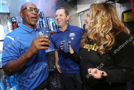 IMAGE DISTRIBUTED FOR BUD LIGHT - Eric Dickerson chooses a Bud Light Rams Homecoming Brew for his first beer in over 30 years with Bud Light Brewmaster Kevin Towner on Thurs., in Los Angeles. #RamsBrew