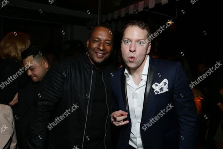 """Director Deon Taylor and Gary Owen are seen at """"Meet the Blacks"""" Premiere after party at the Le Jardin, in Los Angeles"""