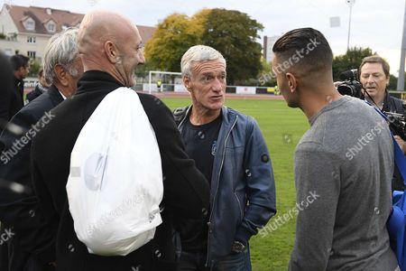 Didier Deschamps, Hatem Ben Arfa and Fabien Barthez before the exhibition match of the Variete Club de France
