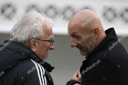 Fabien Barthez and Jacques Vendroux before the exhibition match of the Variete Club de France