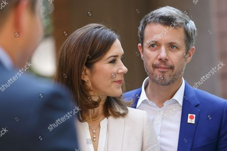 Stock Image of Crown Prince Frederik Andre Henrik Christian and Crown Princess Mary Elizabeth Donaldson attend a Danish lifestyle and food exhibition at the Embassy of Denmark in Tokyo