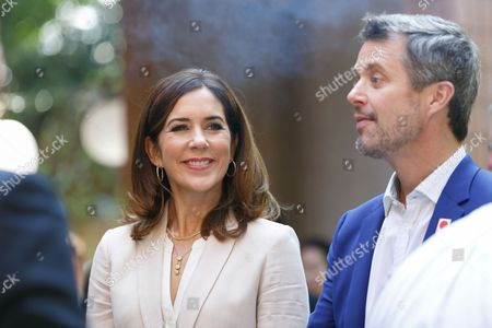 Stock Picture of Crown Prince Frederik Andre Henrik Christian and Crown Princess Mary Elizabeth Donaldson attend a Danish lifestyle and food exhibition at the Embassy of Denmark in Tokyo