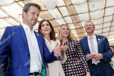 Crown Prince Frederik Andre Henrik Christian and Crown Princess Mary Elizabeth Donaldson attend a Danish lifestyle and food exhibition at the Embassy of Denmark in Tokyo