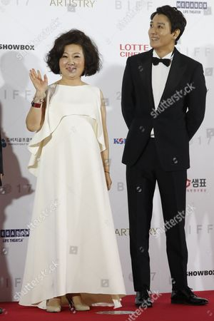 Stock Picture of South Korean actress Kim Hae-Suk (L) and actor Kim Rae-Won (R) arrive  at the opening ceremony of the 22th Busan International Film Festival (BIFF) in Busan, South Korea, 12 October 2017. The BIFF runs from 12 to 21 October 2017, with 298 films from 75 countries to be screened.