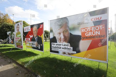 Campaign posters for the State Elections in Lower Saxony of the German the Social Democratic Party (SPD) with candidate Doris Schroeder-Koepf (L), leading candidate Stephan Weil (C) and the Christian Democratic Party (CDU) with leading candidate Bernd Althusmann (R) are seen in Hannover, Germany, 12 October 2017. The state elections in Lower Saxony are scheduled on 15 October.