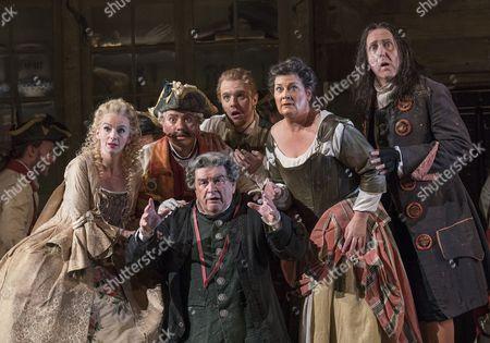 Stock Image of Sarah Tynan as Rosina, Eleazar Rodriguez as Count Almaviva, Morgan Pearse as Figaro, Alan Opie as Doctor Bartolo,  Yvonne Howard as Berta, Alastair Miles Don Basilio