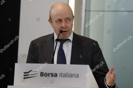 Raffaele Jerusalmi, CEO of Borsa Italiana speaks at the stock market building, in Milan, Italy