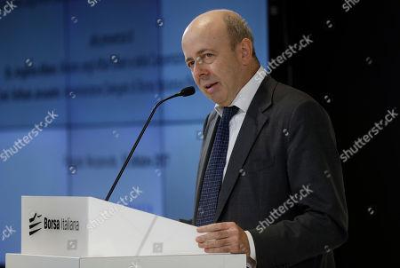 Stock Photo of Raffaele Jerusalmi, CEO of Borsa Italiana speaks, at the stock market building, in Milan, Italy