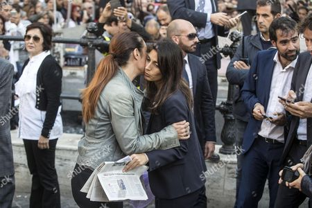 Rome's Mayor Virginia Raggi (C-R) with Senator Paola Taverna (C-L), during the anti-establishment 5-Star Movement (M5S) protest outside of the Lower House, against the government's decision to put a bill for a new election law to confidence votes, in Rome, Italy, 12 October 2017.