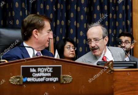 Ed Royce, Eliot L. Engel. House Foreign Affairs Committee Chairman Ed Royce, R-Calif., left, greets Rep. Eliot Engel, D-N.Y., the ranking member, during a markup of a bill to expand sanctions against Iran with respect to its ballistic missile program, on Capitol Hill in Washington