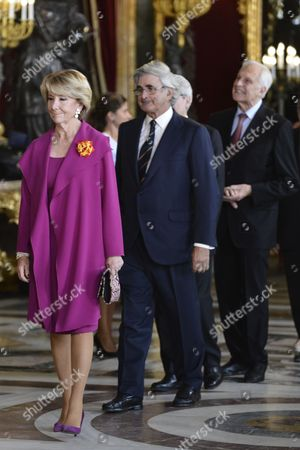 Esperanza Aguirre  HM King Felipe VI and HM Queen Letizia receive social, politics and military Spanish personalities during the Spanishness National Day at Royal Palace