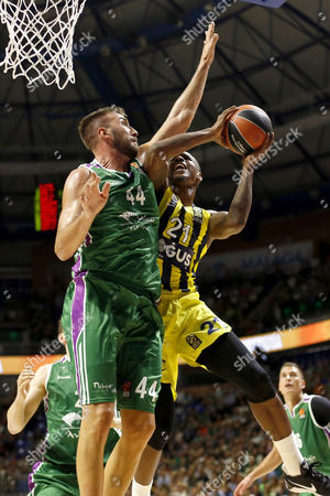 Unicaja's Dejan Musli (L) in action against Fenerbahce's James Nunnally (R) during the EuroLeague basketball match played between Unicaja Malaga and Fenerbahce Istanbul in Malaga, southern Spain, 12 October 2017.
