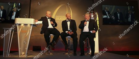 David Flatman interviews Ben Kay and Leicester Tigers Chief Executive Officer, Simon Cohen during the Premiership Rugby Hall of Fame at Honourable Artillery Company, London, England on Thursday 12th of October 2017 - (