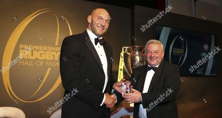 Stock Photo of Ben Kay is presented the inducted award from Leicester Tigers Chief Executive Officer, Simon Cohen during the Premiership Rugby Hall of Fame at Honourable Artillery Company, London, England on Thursday 12th of October 2017 - (