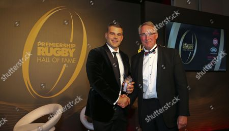 Nick Easter is presented the inducted award from David Morgan, Chairman of Harlequins Rugby during the Premiership Rugby Hall of Fame at Honourable Artillery Company, London, England on Thursday 12th of October 2017 - (