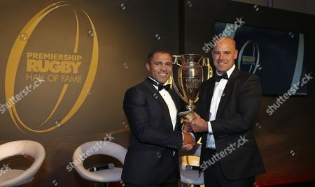 Jason Robinson is presented the inducted award from Charlie Hodgson during the Premiership Rugby Hall of Fame at Honourable Artillery Company, London, England on Thursday 12th of October 2017 - (