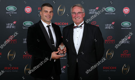 Nick Easter is inducted into the Premiership Rugby Hall of Fame at Honourable Artillery Company, London, England and poses with David Morgan, Chairman of Harlequins Rugby on Thursday 12th of October 2017 - (
