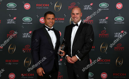 Jason Robinson is inducted into the Premiership Rugby Hall of Fame at Honourable Artillery Company, London, England and poses with Charlie Hodgson on Thursday 12th of October 2017 - (