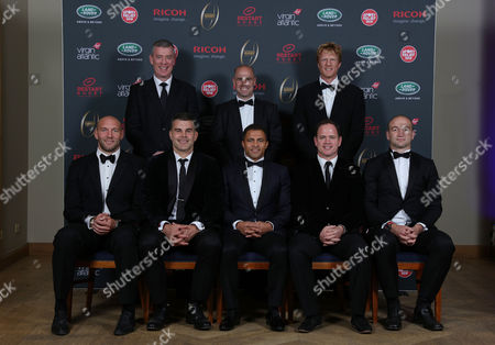 Posing for the camera is L to R front row: Ben Kay, Nick Easter, Jason Robinson, Kyran Bracken and Steve Borthwick. Back row: Dean Ryan, Charlie Hodgson and Hugh Vyvyan during the Premiership Rugby Hall of Fame at Honourable Artillery Company, London, England on Thursday 12th of October 2017 - (